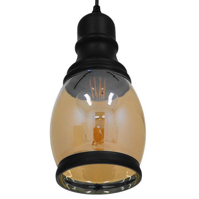 Vintage Κρεμαστό Φωτιστικό Οροφής Μονόφωτο Γυάλινο Μελί Διάφανο Φ14  JACK 01507 - 6