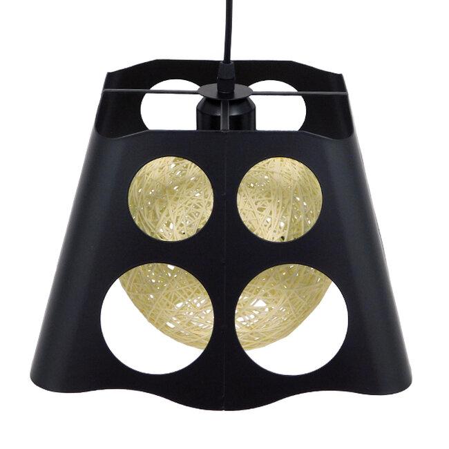 Μοντέρνο Industrial Κρεμαστό Φωτιστικό Οροφής Μονόφωτο Μαύρο με Εκρού Μεταλλικό Πλέγμα 28x28x22cm  CARTER 28x28x22cm 00962 - 5