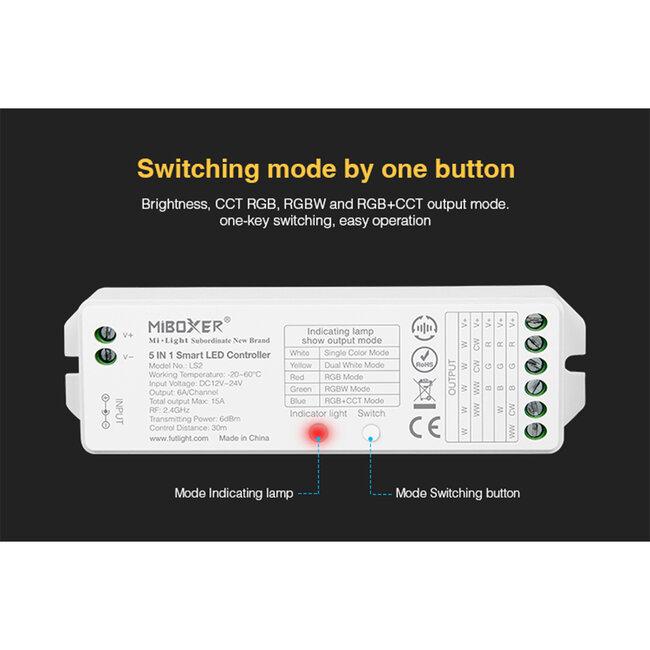 GloboStar® 73422 Ασύρματος RF 2.4Ghz LED RGBW + WW Smart Controller Mi-Light LS2 MiBOXER RF 2.4G DC 12-24V Max 360W - 12