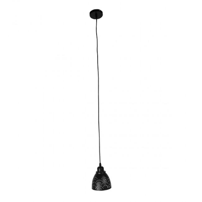 Μοντέρνο Κρεμαστό Φωτιστικό Οροφής Μονόφωτο Μεταλλικό Μαύρο Λευκό Καμπάνα Φ13 GloboStar CLOUD 01482 - 2