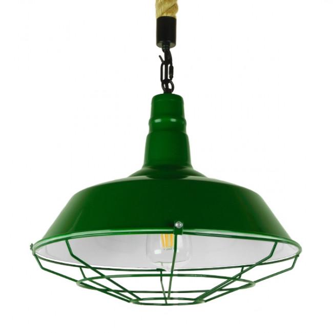 Vintage Industrial Κρεμαστό Φωτιστικό Οροφής Μονόφωτο Πράσινο Λευκό Μεταλλικό Καμπάνα Πλέγμα με Μπεζ Σχοινί Φ36 GloboStar ELEDA 01408 - 1