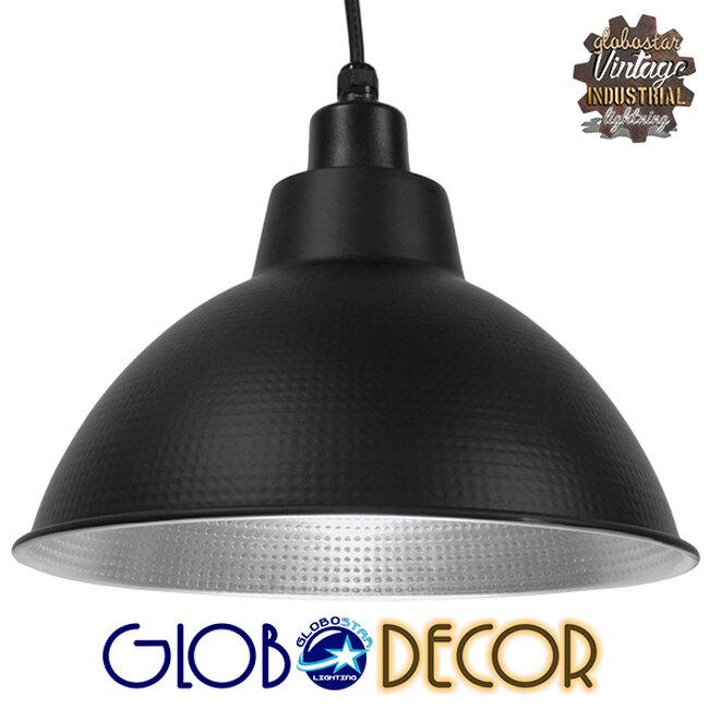 Vintage Industrial Κρεμαστό Φωτιστικό Οροφής Μονόφωτο Μαύρο Μεταλλικό Καμπάνα Φ39   LOUVE BLACK 01176 - 1