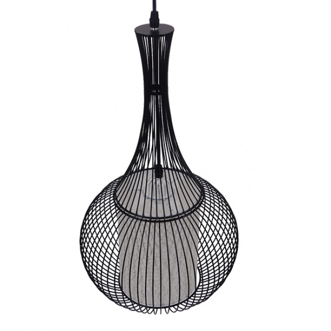 Μοντέρνο Κρεμαστό Φωτιστικό Οροφής Μονόφωτο Μαύρο Μεταλλικό Πλέγμα με Υφασμάτινο Εσωτερικό Καπέλο Φ30  BERNA 01198 - 4