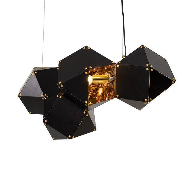 WELLES Replica 00796 Μοντέρνο Κρεμαστό Φωτιστικό Οροφής Πολύφωτο Μεταλλικό Μαύρο Χρυσό Μ68 x Π32 x Υ30cm - 4