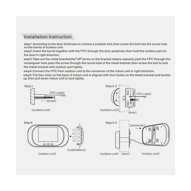 86070 Ψηφιακή Έξυπνη Camera Εξώπορτας 0,3 MP 90° Μοιρών με Έγχρωμη Οθόνη 2.8 - 10