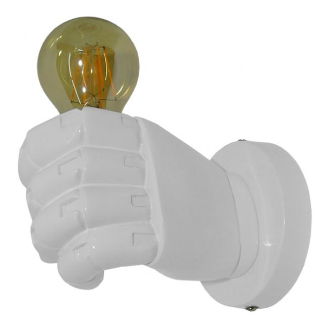 Μοντέρνο Φωτιστικό Τοίχου Απλίκα Μονόφωτο Λευκό Γύψινο  FIST WHITE 01137 - 3