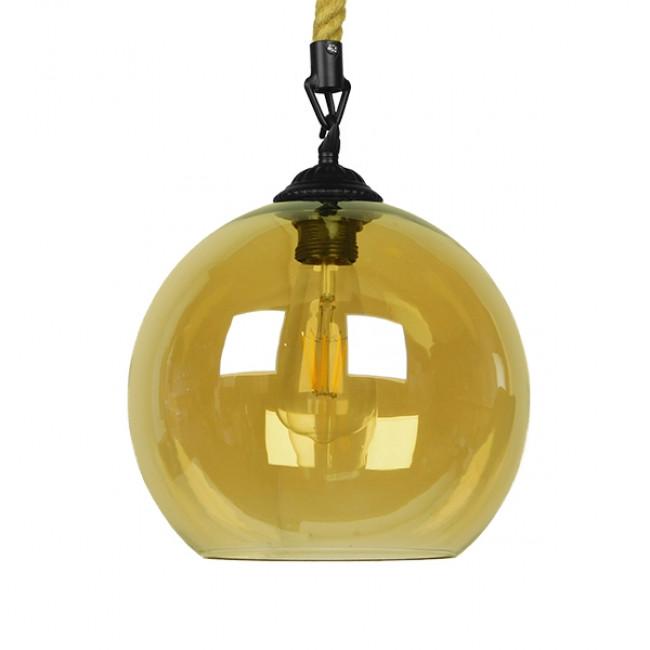 Μοντέρνο Κρεμαστό Φωτιστικό Οροφής Μονόφωτο με 1 Μέτρο Μπεζ Σχοινί Γυάλινο Μελί Διάφανο Φ25 GloboStar LENHAM 01668 - 3