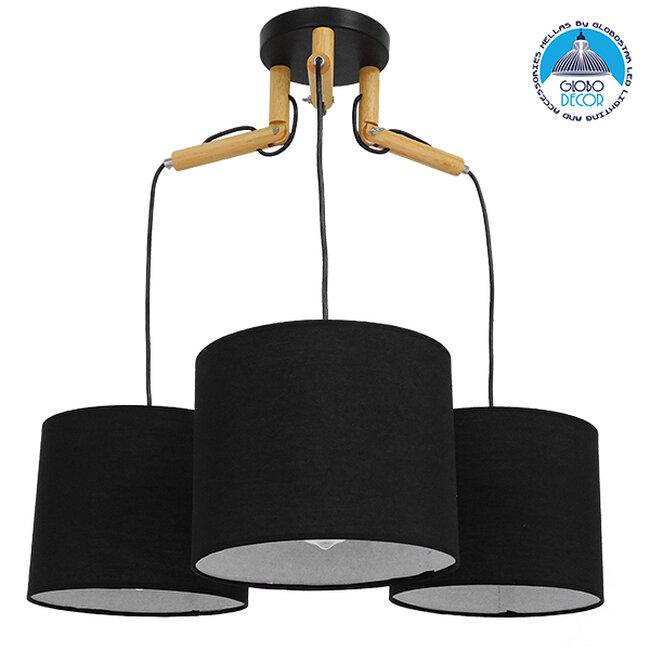 Μοντέρνο Κρεμαστό Φωτιστικό Οροφής Τρίφωτο Μαύρο με Ξύλο και Υφασμάτινα Καπελα Φ67  RAMSON BLACK 01525 - 1