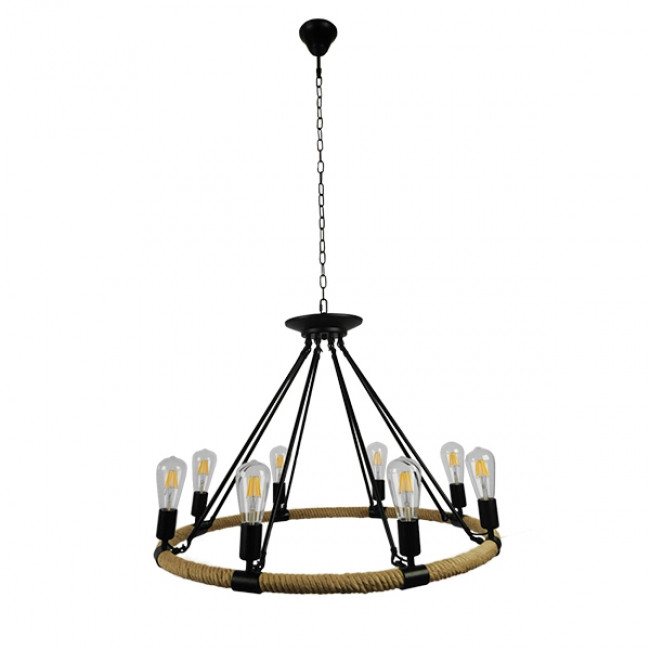 Vintage Κρεμαστό Φωτιστικό Οροφής Πολύφωτο Μαύρο Μεταλλικό με Μπεζ Σχοινί Φ80 GloboStar MILLBANK 01423 - 2