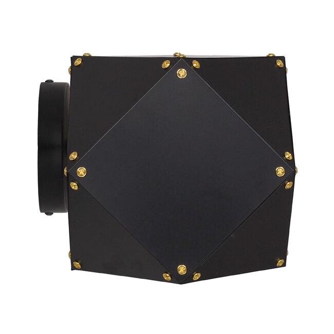 WELLES Replica 00795 Μοντέρνο Φωτιστικό Τοίχου Απλίκα Δίφωτο Μεταλλικό Μαύρο Χρυσό Μ52 x Π21 x Υ17cm - 3
