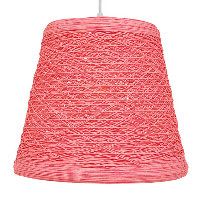 Vintage Κρεμαστό Φωτιστικό Οροφής Μονόφωτο Ροζ Ξύλινο Ψάθινο Rattan Φ32  ARGENT PINK 00996 - 3