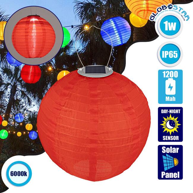 71592 Αυτόνομο Ηλιακό Φωτιστικό Υφασμάτινη Κόκκινη Μπάλα Φ30cm LED SMD 1W 100lm με Ενσωματωμένη Μπαταρία 1200mAh - Φωτοβολταϊκό Πάνελ με Αισθητήρα Ημέρας-Νύχτας Αδιάβροχο IP65 Ψυχρό Λευκό 6000K - 1