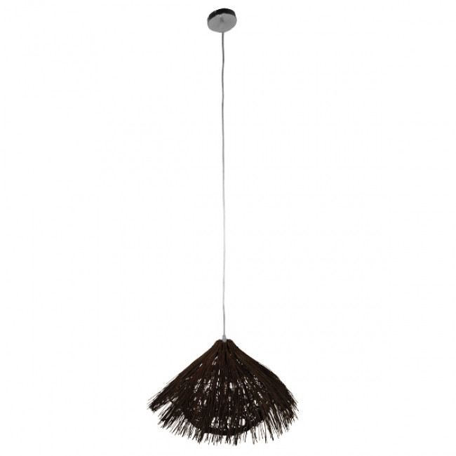 Vintage Κρεμαστό Φωτιστικό Οροφής Μονόφωτο Καφέ Σκούρο Ξύλινο Ψάθινο Rattan Φ50 GloboStar MAGIE 01600 - 2