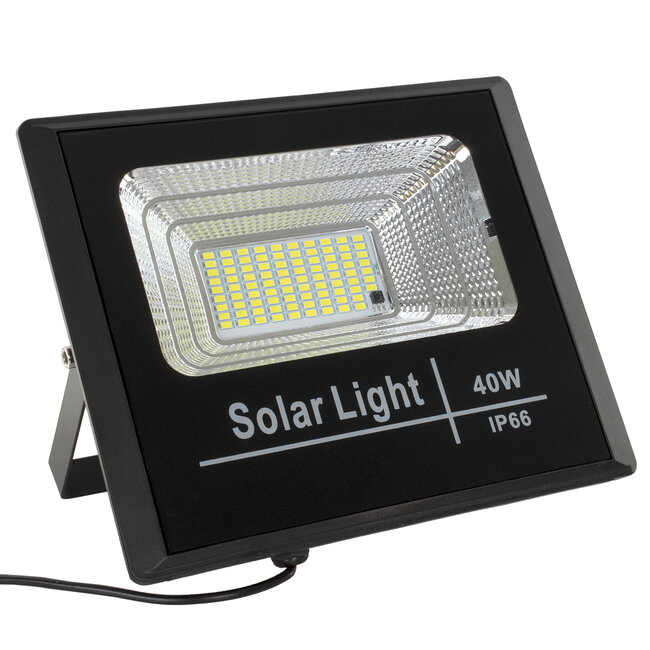 71555 Αυτόνομος Ηλιακός Προβολέας LED SMD 40W 3200lm με Ενσωματωμένη Μπαταρία 5000mAh - Φωτοβολταϊκό Πάνελ με Αισθητήρα Ημέρας-Νύχτας και Ασύρματο Χειριστήριο RF 2.4Ghz Αδιάβροχος IP66 Ψυχρό Λευκό 6000K - 3