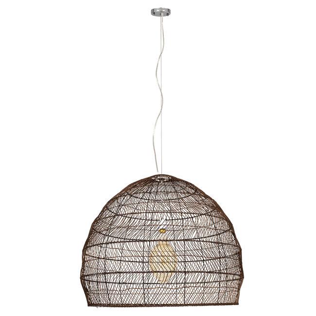 GloboStar® MALIBU 00967 Vintage Κρεμαστό Φωτιστικό Οροφής Μονόφωτο Λευκό Ξύλινο Bamboo Φ97 x Y86cm - 3
