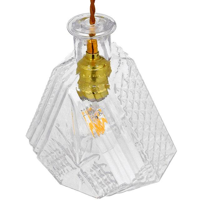Vintage Κρεμαστό Φωτιστικό Οροφής Μονόφωτο Γυάλινο Διάφανο Φ11  LIQUEUR 01515 - 4