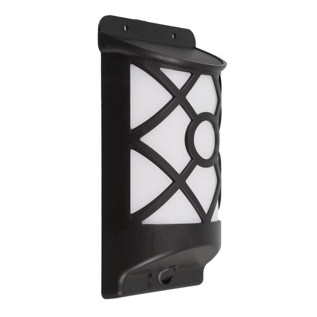 71457 Αυτόνομο Ηλιακό Φωτιστικό Τοίχου Μαύρο LED SMD 3W 220lm με Ενσωματωμένη Μπαταρία 300mAh - Εφέ Φλόγας Flame Effect - Φωτοβολταϊκό Πάνελ με Αισθητήρα Ημέρας-Νύχτας IP65 Θερμό Λευκό 2200K - 5