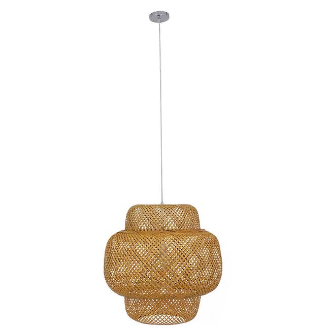 Vintage Κρεμαστό Φωτιστικό Οροφής Μονόφωτο Καφέ Ξύλινο Bamboo Φ56  MALVIDES LIGHT BROWN 01657 - 3