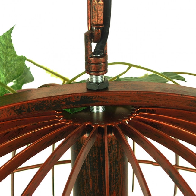Vintage Industrial Κρεμαστό Φωτιστικό Οροφής Μονόφωτο Καφέ Σκουριά Μεταλλικό Πλέγμα  LIBELLULA 01642 - 6