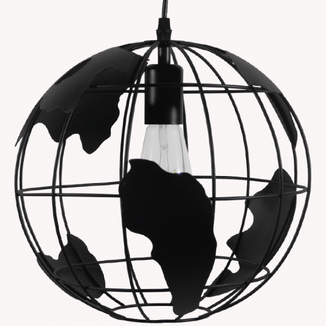 Vintage Industrial Κρεμαστό Φωτιστικό Οροφής Μονόφωτο Μαύρο Μεταλλικό Πλέγμα Φ30  WORLD 01205 - 4