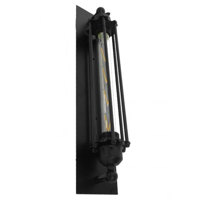 Vintage Industrial Φωτιστικό Τοίχου Απλίκα Μονόφωτο Μαύρο Μεταλλικό Πλέγμα GloboStar TUBULAR 01033 - 6