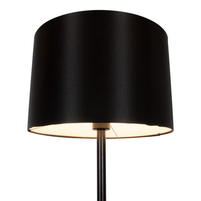 ASHLEY 00824 Μοντέρνο Φωτιστικό Δαπέδου Μονόφωτο Μεταλλικό Μαύρο με Καπέλο και Ξύλινη Λεπτομέρεια Φ40 x Υ145cm - 4