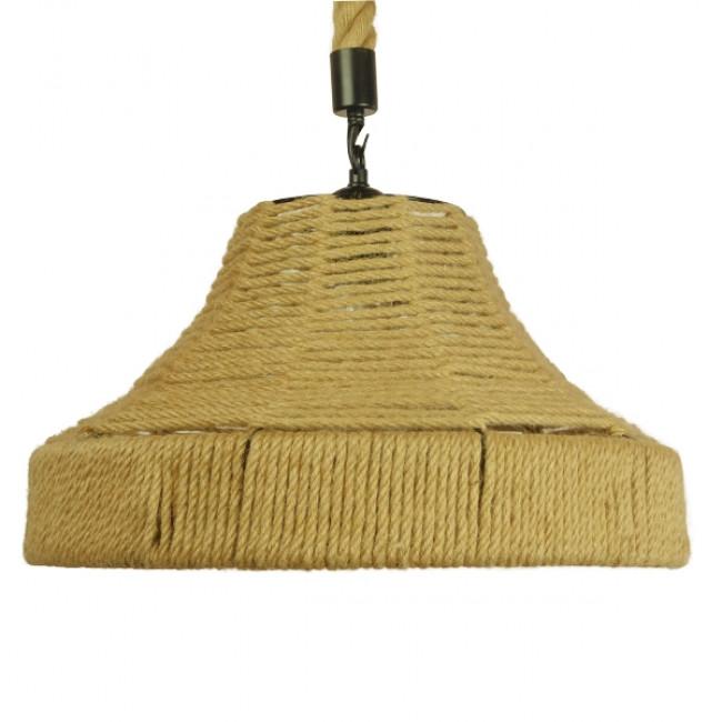 Vintage Κρεμαστό Φωτιστικό Οροφής Μονόφωτο Καμπάνα με Μπεζ Σχοινί Φ41 GloboStar DOGMA 01609 - 3