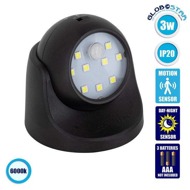 79001 Μαύρο Φωτιστικό Μπαταρίας σε Σχήμα Κάμερας LED SMD 3W 300lm με Αισθητήρα Ημέρας-Νύχτας και PIR Αισθητήρα Κίνησης Ψυχρό Λευκό 6000K - 1
