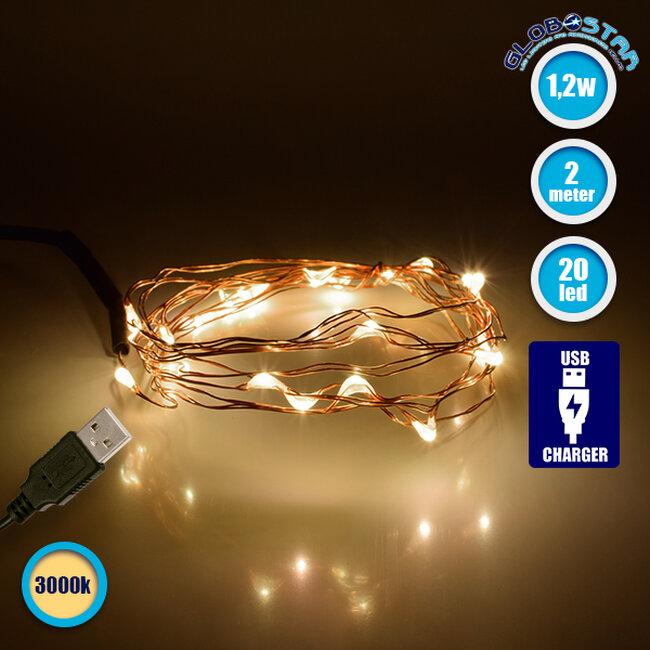 GloboStar® 79720 Διακοσμητική Γιρλάντα 2 Μέτρων 20 LED USB 5 Volt 1.2 Watt με Χάλκινο Συρμάτινο Καλώδιο Θερμό Λευκό 3000k - 1