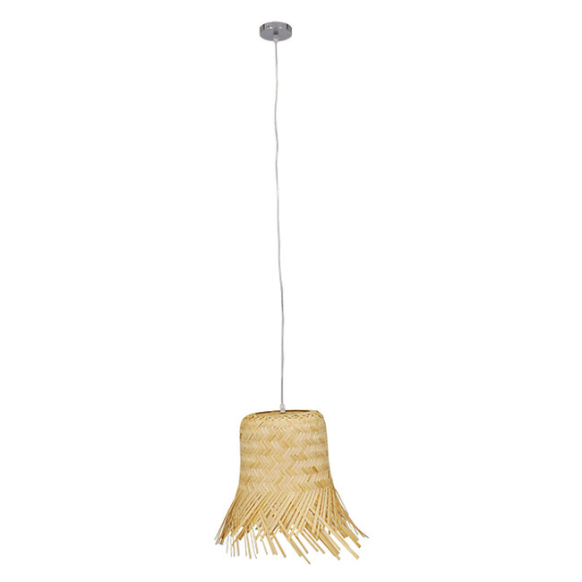 Vintage Κρεμαστό Φωτιστικό Οροφής Μονόφωτο Μπέζ Ξύλινο Ψάθινο Rattan Φ40  HAWAII 01103 - 2