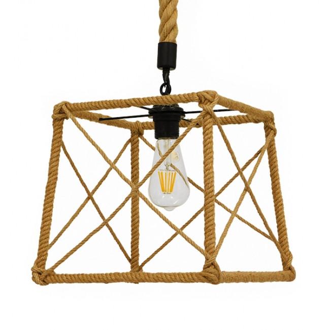 Vintage Κρεμαστό Φωτιστικό Οροφής Μονόφωτο Πλέγμα με Μπεζ Σχοινί  POLISHED 01616 - 3