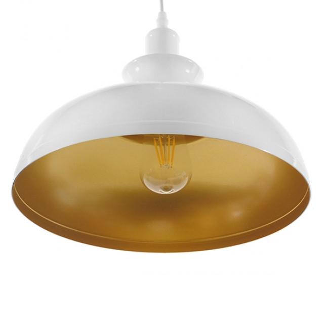 Μοντέρνο Κρεμαστό Φωτιστικό Οροφής Μονόφωτο Λευκό Χρυσό Μεταλλικό Καμπάνα Φ35 GloboStar OBERYN 00999 - 4