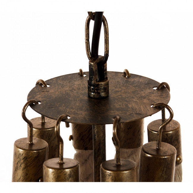 Vintage Κρεμαστό Φωτιστικό Οροφής Πολύφωτο Μπρούτζινο Σκουριά Μεταλλικό Πολυέλαιος με Μπεζ Σχοινί Φ87  BAVARIAN 01405 - 9