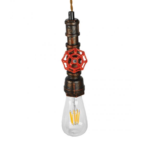 Vintage Industrial Κρεμαστό Φωτιστικό Οροφής Μονόφωτο Καφέ Σκουριά Μεταλλικό GloboStar FAUCET 01414 - 5