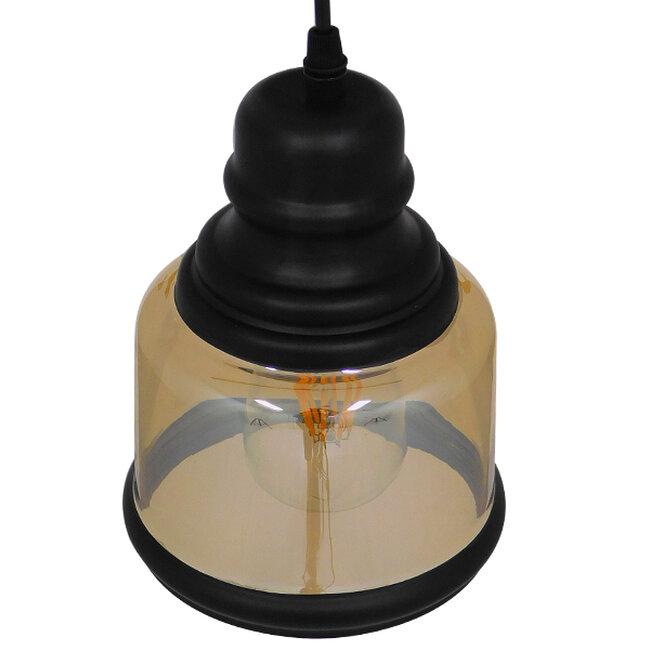 Vintage Κρεμαστό Φωτιστικό Οροφής Μονόφωτο Γυάλινο Μελί Διάφανο Φ15  WILLIAM 01506 - 4