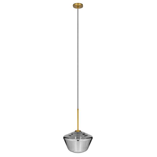 GloboStar® AMARIS 00873 Μοντέρνο Κρεμαστό Φωτιστικό Οροφής Μονόφωτο Γυάλινο Φιμέ Νίκελ Φ30 x 22CM - 3