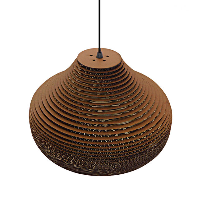 Vintage Κρεμαστό Φωτιστικό Οροφής Μονόφωτο 3D από Επεξεργασμένο Σκληρό Καφέ Χαρτόνι Καμπάνα Φ35  MILOS 01291 - 6