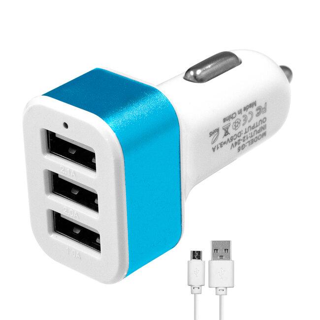Globostar® 79503 Μπλε Φορτιστής Αυτοκινήτου DC 12-24V με 3 Εξόδους USB DC 5V Max 3.1A 20W και Καλώδιο USB σε Type-C - 2