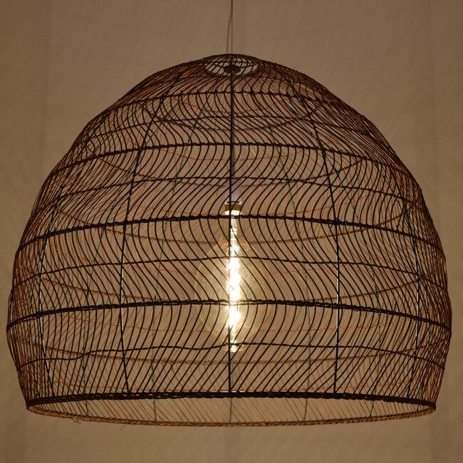 GloboStar® MALIBU 00967 Vintage Κρεμαστό Φωτιστικό Οροφής Μονόφωτο Λευκό Ξύλινο Bamboo Φ97 x Y86cm - 2