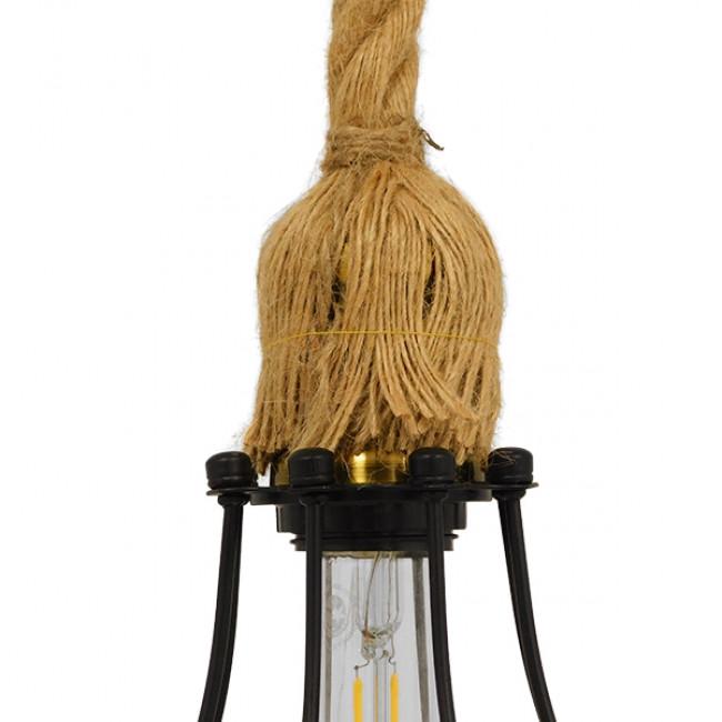 Vintage Industrial Κρεμαστό Φωτιστικό Οροφής Μονόφωτο Μαύρο Μεταλλικό Πλέγμα με Μπεζ Σχοινί Φ11 GloboStar CAMBER BLACK 01594 - 6