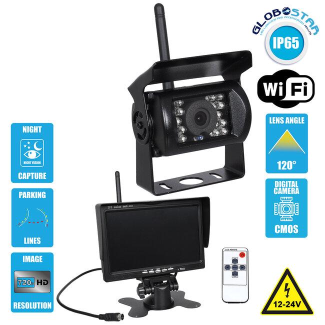 86030 WiFi Έγχρωμη Κάμερα 720p CMOS HD Οπισθοπορείας Αυτοκινήτου-Φορτηγού DC 12-24V 170° με Οθόνη 7