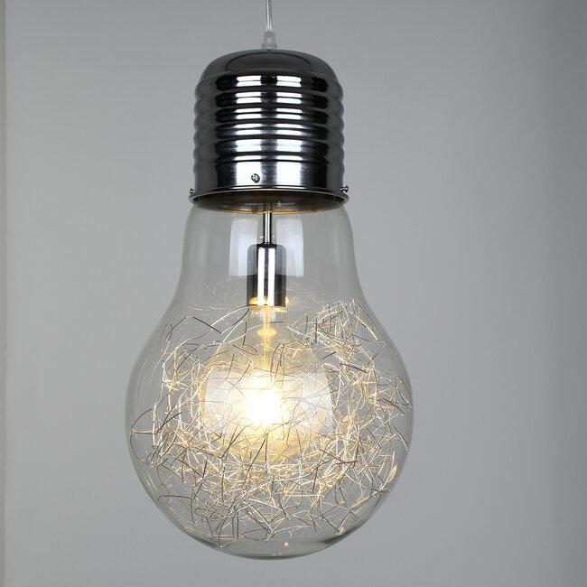 LAMP 01677 Μοντέρνο Κρεμαστό Φωτιστικό Οροφής Μονόφωτο Ασημί Νίκελ Μεταλλικό Διάφανο Γυαλί Φ30 x Υ52cm - 3