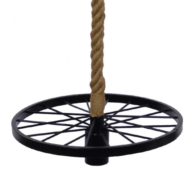 Vintage Industrial Κρεμαστό Φωτιστικό Οροφής Μονόφωτο Μαύρο Μεταλλικό Πλέγμα με Μπεζ Σχοινί Φ30  VELO 01185 - 4