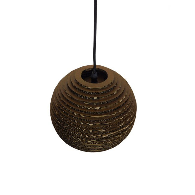 Vintage Κρεμαστό Φωτιστικό Οροφής Μονόφωτο 3D από Επεξεργασμένο Σκληρό Καφέ Χαρτόνι Καμπάνα Φ20  SANTORINI 01288 - 4