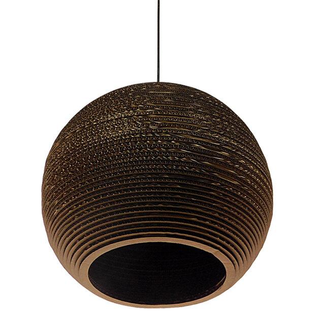 Vintage Κρεμαστό Φωτιστικό Οροφής Μονόφωτο 3D από Επεξεργασμένο Σκληρό Καφέ Χαρτόνι Καμπάνα Φ40 GloboStar CRETE 01289 - 3