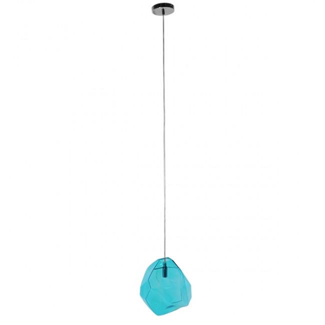 Μοντέρνο Κρεμαστό Φωτιστικό Οροφής Μονόφωτο Γυάλινο Γαλάζιο Διάφανο GloboStar LACRIMA 01306 - 2