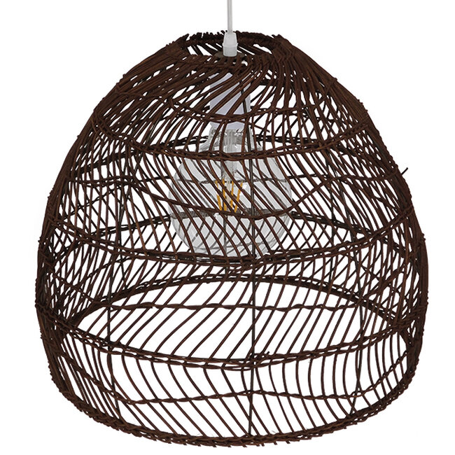 Vintage Κρεμαστό Φωτιστικό Οροφής Μονόφωτο Καφέ Σκούρο Ξύλινο Bamboo Φ40  COMORES DARK BROWN 00970 - 5