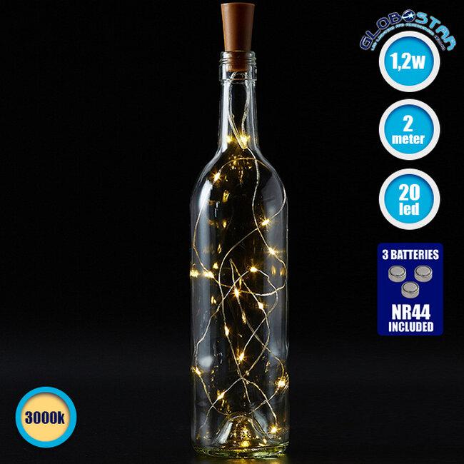 79790 Διακοσμητική Γιρλάντα 20 LED με Ασημένιο Συρμάτινο Καλώδιο 2 Μέτρων Μπαταρίας για Μπουκάλια Θερμό Λευκό 3000k - 1
