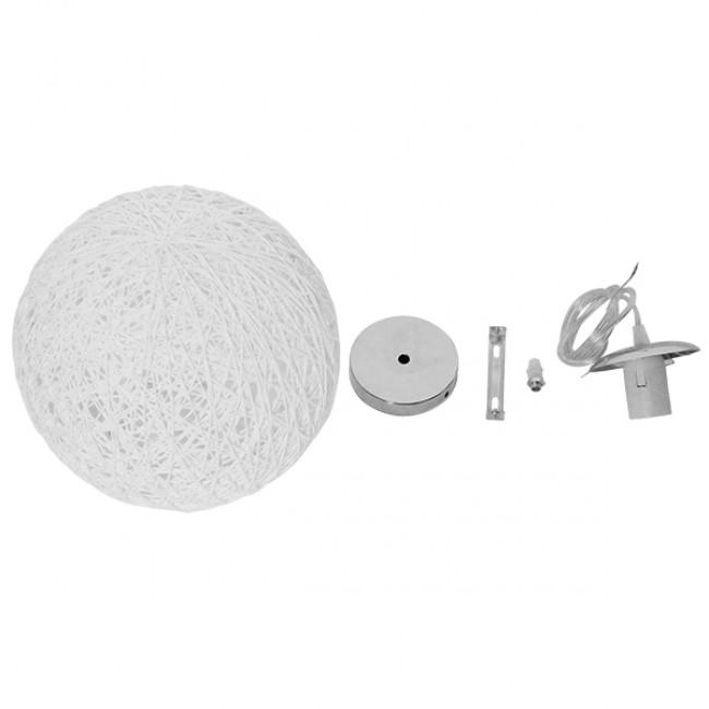 Vintage Κρεμαστό Φωτιστικό Οροφής Μονόφωτο Λευκό Ξύλινο Ψάθινο Rattan Φ20  ICEBERG 01355 - 5