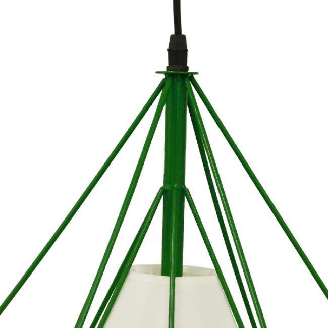 Μοντέρνο Industrial Κρεμαστό Φωτιστικό Οροφής Μονόφωτο Πράσινο με Άσπρο Ύφασμα Μεταλλικό Πλέγμα Φ38  KAIRI GREEN 01622 - 6